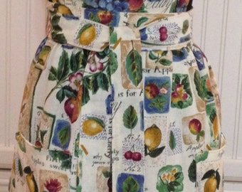 Vintage style womens full apron vintage tablecloth ecru eyelet lace ruffle pears apples green leaves purple grapes  bodice burgundy trim