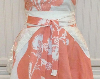 Vintage linens women full apron - vintage orange cream tablecloth  -  circle skirt - cream eyelet lace ruffle hem - ruched bodice