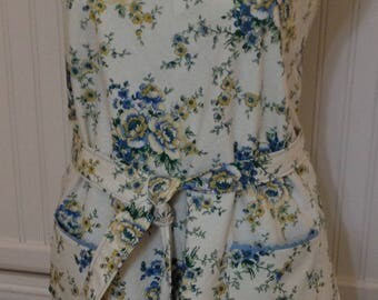 Vintage style full apron, women's apron, yellow flowers, blue flowers, bib neck, vintage feel, cotton, blue ricrac, littlebird logo apron