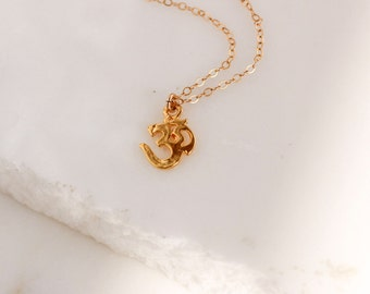 Om Necklace/ Om Necklace Gold/ Gold Om Necklace/ Om Pendant Necklace/ Om pendant/ Yogi Necklace/ Om meditation Necklace/