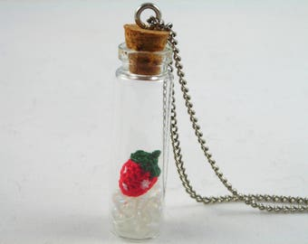 Crochet Strawberry Pendant/Glass Bottle Pendant/Strawberry Pendant/Strawberry In Bottle/Crochet Pendant/Strawberry Necklace/ Bottle Necklace