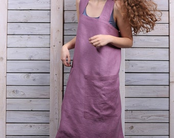 Linen Square-Cross Apron / Pinafore / No-ties Apron / Japanese Apron/ Lilac. Hand made by LinenSky.