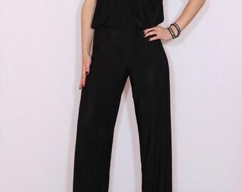 Black jumpsuit Sleeveless jumpsuits women Wrap top