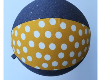 Fabric Balloon Ball by PostalThreads: Chambray, gold dots, mustardy yellow, white polka, bouncy, round, reusable, washable, travel light.