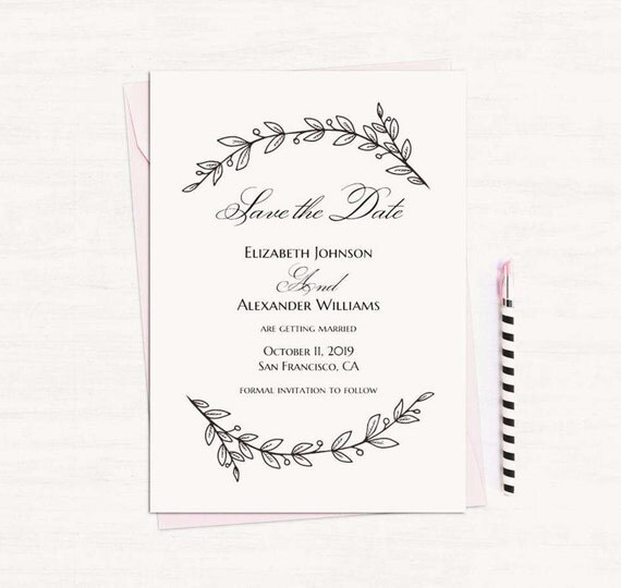 Simple wedding announcement template black and white save the simple wedding announcement template black and white save the date printable instant download modern save our date diy floral save date t142 pronofoot35fo Images