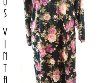 "Sale!! Plus Size UK 20 Vintage 1980s Black Floral Velveteen Maxi Column Dress Boho Stretchy EU 48 US 16 Bust 46"" 117cm"