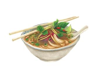 Pho Fine Art Print // Watercolour Food Illustration // Art for Home // Art for Kitchen // Vietnamese Food