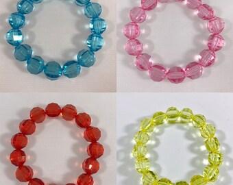 Kids bracelets blue, pink, red or blue