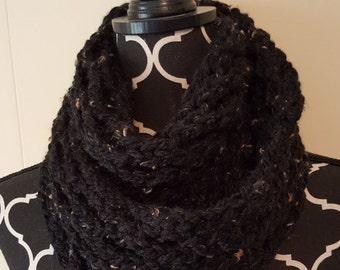 Black Tweed Chunky Scarf