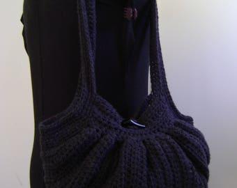 Crochet Fat Bottom Boho Bag, Crochet Handbag, Crochet Purse, Hippie Gypsy Festival Hobo Bag, Swag Bag in Dark Grey and Black bandana  lining