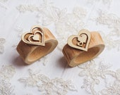 10 set Valentine table decor Wood Rustic Napkin Rings Easter table decor Wedding Rustic bridal shower Heart napkin rings Wood napkin rings