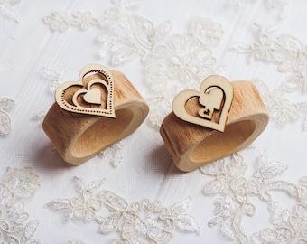 10 set Wood Rustic Napkin Rings Easter Napkin Rings Easter table decor Wedding Table Decor Rustic bridal shower Heart napkin rings Wood ring