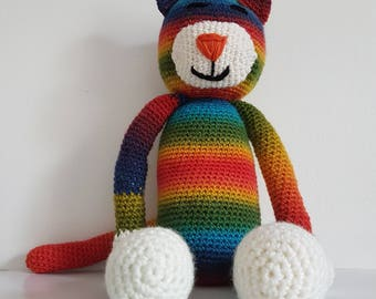 MADE TO ORDER - Rainbow Cat, Crochet Cat, Soft Cat Toy, Crochet Rainbow Cat, Soft Toy, Toy Cat, Handmade Crochet Cat, Large Amigurumi Cat