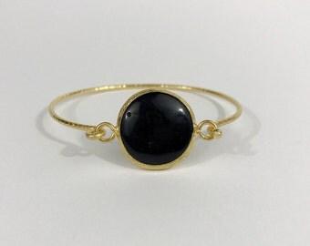 Black Onyx Hammered bangle