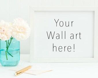 Horizontal Frame Mockup Styled Stock Photo | Empty frame | Product Mock-up for printables | 8 x 10  Landscape orientation | roses mason jar