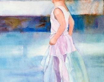 Ballerina Watercolor, Little Girl Dancer Painting, Ballet Watercolor, Child Dancer, Ballerina Art for Kids
