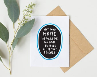 new home card, housewarming card, funny new home card, new apartment card, housewarming gift ideas, moving house, moving card