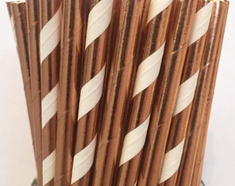 2.85 US Shipping -Rose Gold Foil Paper Straws - Rose Gold Straws - Rose Gold Cake Pop Sticks - Drinking Straws