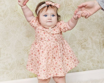 Vintage Style Pink Floral Dress, Peasant Dress, Girls Clothing, Baby Clothes
