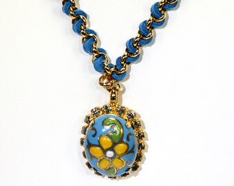 Enamel blue and yellow daisy pendent