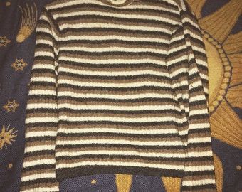 SALE 1970s brown striped turtleneck sweater size medium super comfy