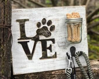 Rustic LOVE Dog Leash and Treats Holder