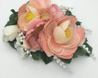 Handmade Vintage Peach & White Flower Clip / Corsage With Pearl Picks