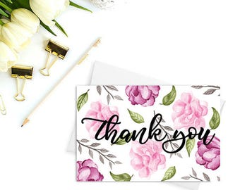 Thank You Cards PRINTABLE, wedding thank you, Bridal shower thank you cards, Baby shower thank you cards, Floral cards, Watercolor cards