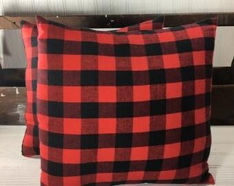 Buffalo Plaid Pillow - Buffalo Check Pillow - Woodland Nursery Decor - Rustic Nursery Theme - Red Black Plaid Pillow