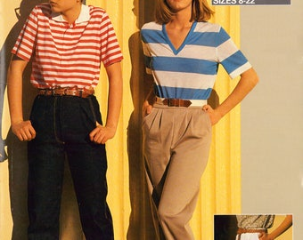 80s Justknits Ladies Straight Leg Pants, Jeans with Front Zipper or Walk Shorts, Uncut, Factory Folded, Sewing Pattern Multi Plus Size 8-22