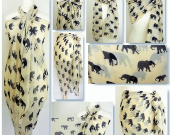 Cream Elephant Print Sarong, Pareo, Beach Cover Up, Resort Wear,Pool Wrap,Holiday Wear,Vacation,Beach Dress, Beach Pareo, Cruise Wear