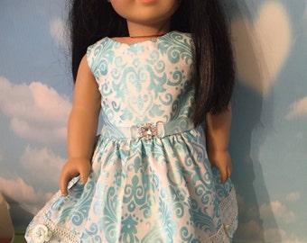"Blue Super Glitz Dress for 18"" Dolls like American Girl Dolls"