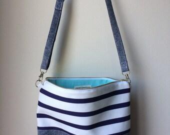 Navy Striped Crossbody Bag, Cross Body Bag, Hobo Bag, Nautical Purse, Chambray Hobo Bag, Convertible Bag