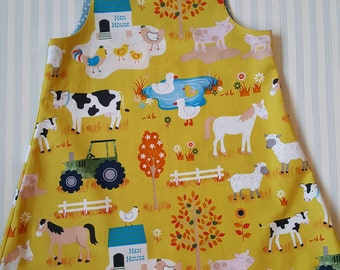 Handmade farmyard freinds dress/tunic 100% cotton