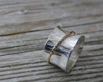 Sterling Silver and Gold-filled Spinner Ring