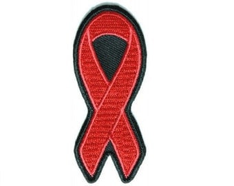 Red Ribbon HIV AIDS Awareness Ribbon Iron On Patch 1.5 x 3 inches Free Shipping Survivor P3755