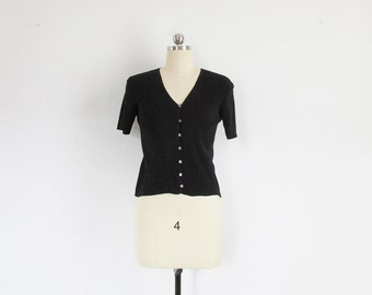 vintage ribbed silk top, minimal black v neck button shirt with short sleeves, 90s saks fifth ave - womens xs / s / m