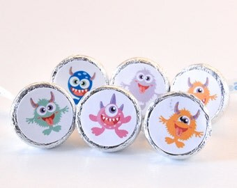 324 Cute Monster Party Supplies, Monster Stickers, Monster Round Candy Label Party Favors, Monster Party Favors, Fits Hershey's Kiss