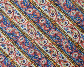 "Dressmaking Fabric, Paisley Print, Quilt Material, White Fabric, Home Decor, Sewing Craft, 40"" Inch Cotton Fabric By The Yard ZBC6931A"