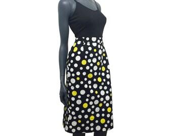 Vintage 1970s Textured Cotton Black Yellow White Spotty Print Pencil Skirt 12 14