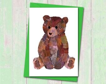 Bear cub card, Teddy bear card, Custom colours, Cute bear card, New baby bear cub card, Animal lover card, Bear lover card, Teddy bear card