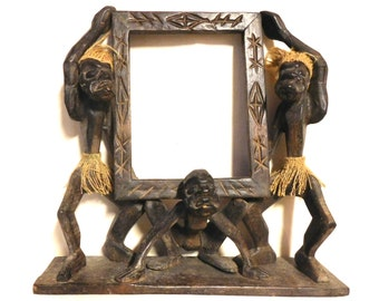 Polynesian Tiki picture frame--carved wood and burlap