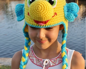 On Sale, READY TO SHIP, The Little Mermaid Flounder Crochet Hat, Flounder Crochet Hat, Disney Crochet Hat, Halloween Costume, Flounder Hat
