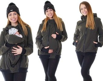 3-in-1 carrying maternity jacket Softshell jacket green jacket all weather jacket Babywearing