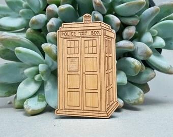 TARDIS Fridge Magnet - Laser Engraved Alder Wood - Refrigerator Magnet - Doctor Who