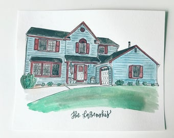 8x10 Custom Watercolor House Portrait