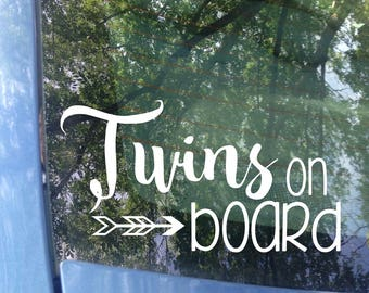 Twins on board Window Decal | Car Decal | New Baby | Baby Shower Gift | Baby on board Sticker | Child on board | Safety | Bumper Sticker
