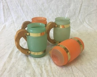 Vintage Siesta Ware Green and Orange Frosted Glass Barrel Mugs with Wood Handles, Set of 4