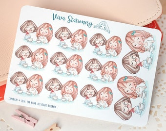 Kawaii Girls Coffee/Dinner with Friends Decorative Stickers ~Vera and Viviane~ For your Life Planner, Diary, Journal, Scrapbook...