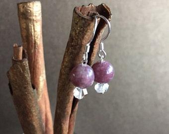 Lepidolite and Herkimer Diamond Earrings